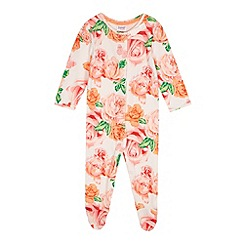 Baker by Ted Baker - Babies light pink rose sleepsuit