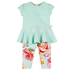 Baker by Ted Baker - Girl's green peplum top and legging set