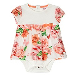 Baker by Ted Baker - Babies off white 2-in-1 rose dress and bodysuit