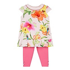 Baker by Ted Baker - Babies light pink parakeet tunic and leggings set
