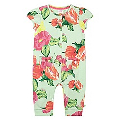 Baker by Ted Baker - Babies light green parakeet print romper suit