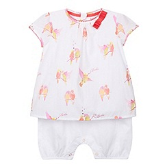 Baker by Ted Baker - Babies white bird print mock romper