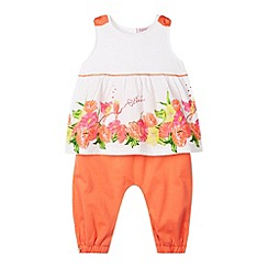 Baker by Ted Baker - Babies white floral hem top and bottoms set