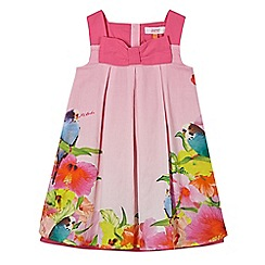 Baker by Ted Baker - Babies light pink pleated parakeet floral print dress