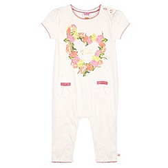 Baker by Ted Baker - Babies light pink floral heart print sleepsuit