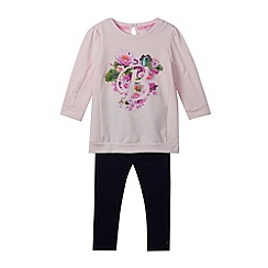 Baker by Ted Baker - Girl's pink floral sweater and leggings set