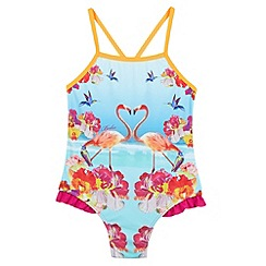 Baker by Ted Baker - Girl's dark pink flamingos swimsuit