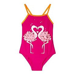 Baker by Ted Baker - Girl's pink flamingo printed swimsuit