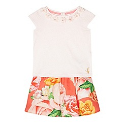 Baker by Ted Baker - Girl's peach t-shirt and skirt set