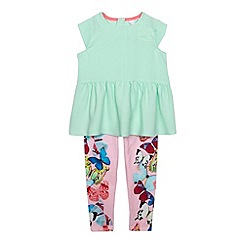 Baker by Ted Baker - Girl's light green butterfly tunic and leggings set