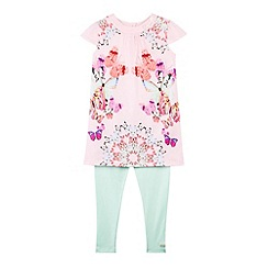 Baker by Ted Baker - Girl's pink butterfly tunic and leggings set
