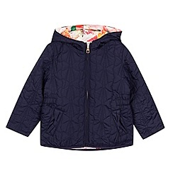 Baker by Ted Baker - Girl's navy quilted floral lined jacket