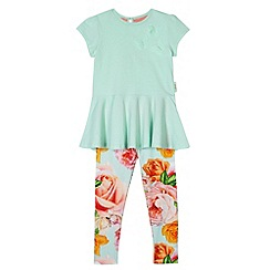 Baker by Ted Baker - Girl's light green butterfly peplum top and leggings set