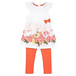 Baker by Ted Baker - Girl's white floral hem top and leggings set