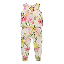 Baker by Ted Baker - Girl's light pink hibiscus jumpsuit