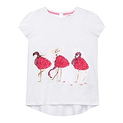 Baker by Ted Baker - Girl's white flamingo 3D short sleeved top
