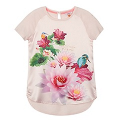 Baker by Ted Baker - Girl's light pink graphic floral satin front top
