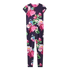 Baker by Ted Baker - Girl's navy lotus printed mock jumpsuit