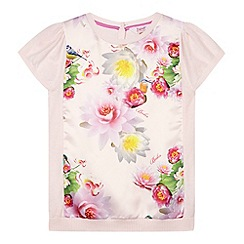 Baker by Ted Baker - Girl's light pink floral front knit top