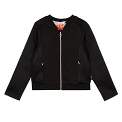 Baker by Ted Baker - Girl's black quilted sleeve jersey bomber jacket