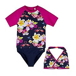Baker by Ted Baker - Girl's navy floral three piece set