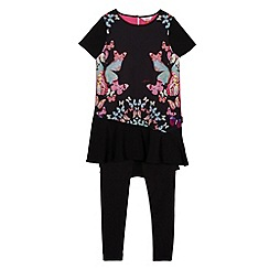Baker by Ted Baker - Girl's black butterfly tunic and leggings