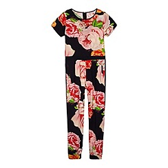 Baker by Ted Baker - Girl's black rose printed jumpsuit