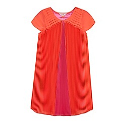 Baker by Ted Baker - Girl's pink colour block pleated dress