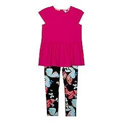 Baker by Ted Baker - Girl's dark pink butterfly tunic and leggings set