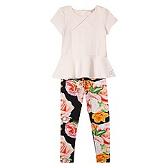 Baker by Ted Baker - Girl's light pink peplum top and rose printed leggings set