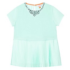 Baker by Ted Baker - Girl's light green pleated gem neck dress