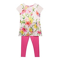 Baker by Ted Baker - Girl's light pink bird print tunic and leggings set