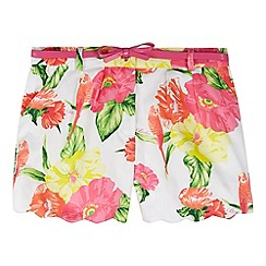 Baker by Ted Baker - Girl's white hibiscus print scalloped shorts