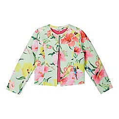 Baker by Ted Baker - Girl's light green parakeet print quilted jacket