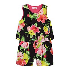 Baker by Ted Baker - Girl's black hibiscus print playsuit