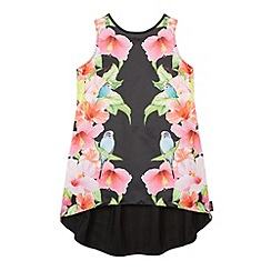 Baker by Ted Baker - Girl's black hibiscus print dipped hem top