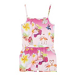 Baker by Ted Baker - Girl's pink floral jersey playsuit
