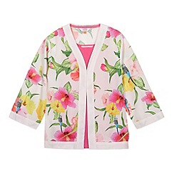 Baker by Ted Baker - Girl's pink hibiscus kimono two piece set