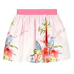 Baker by Ted Baker - Girl's light pink hibiscus border skirt