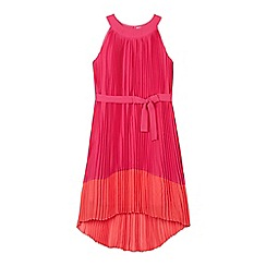 Baker by Ted Baker - Girl's pink pleated colour block hem maxi dress