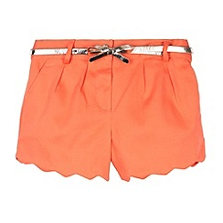 Baker by Ted Baker - Girl's orange pleat front belted shorts
