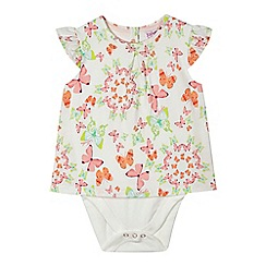 Baker by Ted Baker - Babies pink butterfly printed bodysuit and bear comforter gift set