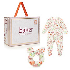 Baker by Ted Baker - Babies pink butterfly sleepsuit and rattle gift box
