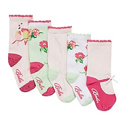 Baker by Ted Baker - Pack of five babies pale pink 'Sockolates' socks