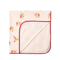 Baker by Ted Baker - Babies light pink bird print jersey blanket