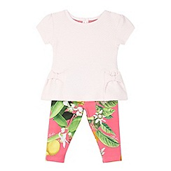 Baker by Ted Baker - Babies pink textured top and floral leggings set