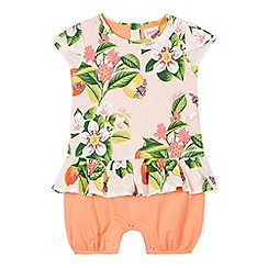 Baker by Ted Baker - Babies light pink floral peplum romper suit