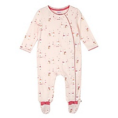 Baker by Ted Baker - Babies light pink bunny asymmetric sleepsuit