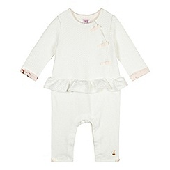 Baker by Ted Baker - Babies off white mock 2-in-1 cardigan and bottoms romper suit