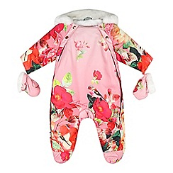 Baker by Ted Baker - Babies pink botanical print snowsuit with mittens